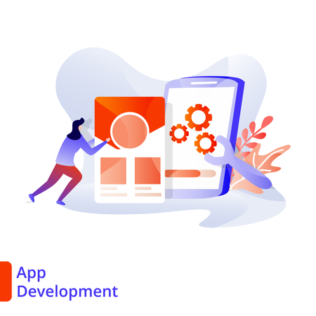 Landing Page App Development Illustration