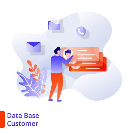 Landing Page Data Base Customer Illustration
