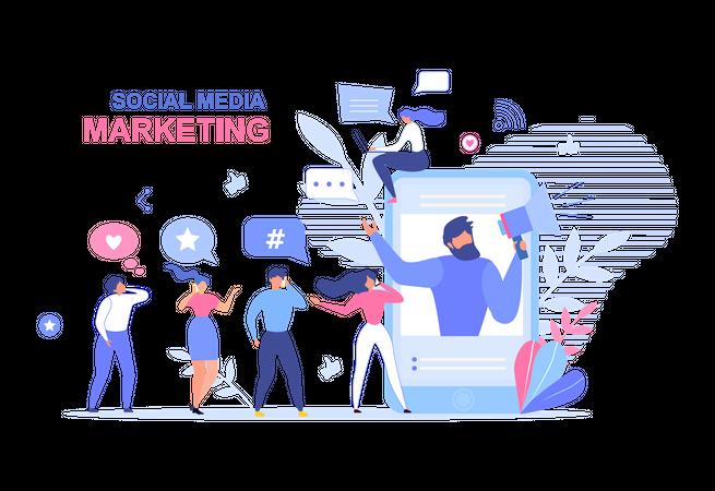 Landing Page Design for Social Media Marketing Illustration