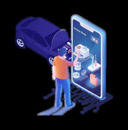 Landing Page for Auto Shop Online Mobile Application Illustration