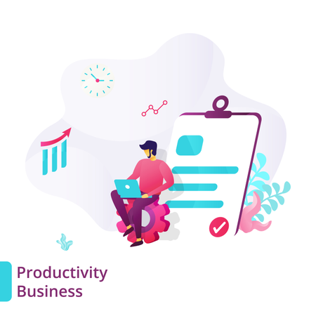 Landing Page for Business Productivity Illustration
