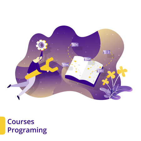 Landing Page for Courses Programming in online education app Illustration