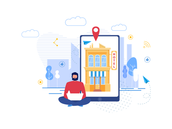 Landing Page for Hotel Search and Booking Online Illustration