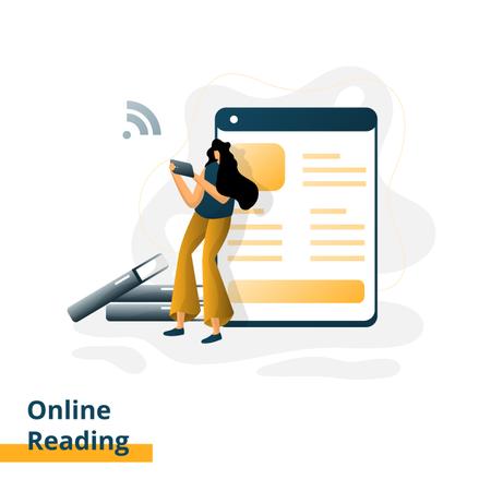 Landing page for Online Reading Illustration