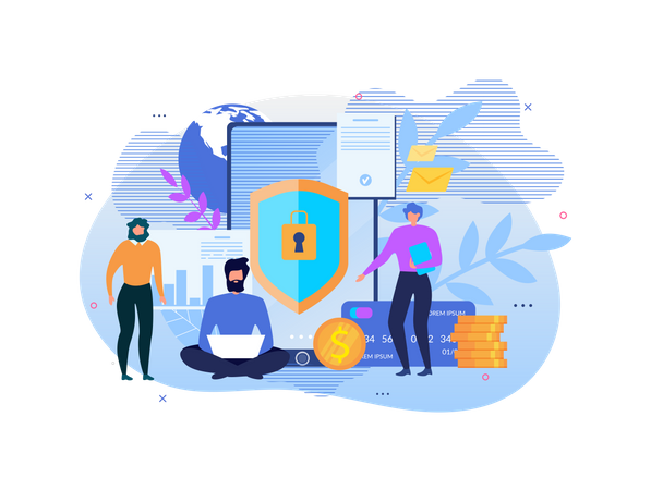 Landing Page for Service Offers Internet Security Illustration