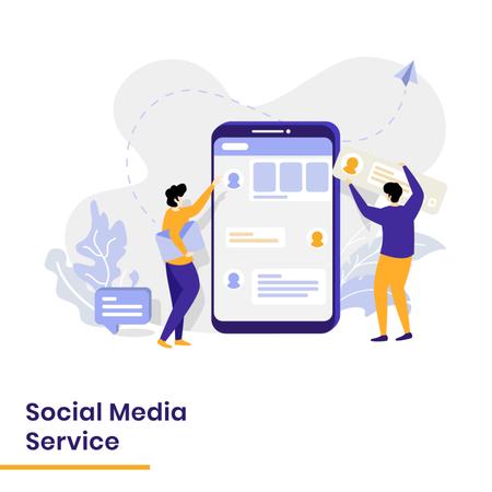 Landing Page for Social Media Services Illustration