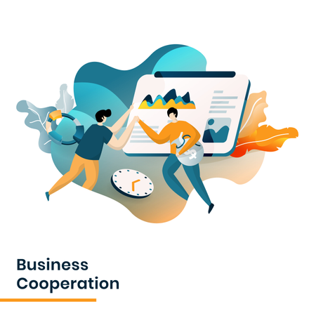 Landing Page of Business Cooperation Illustration