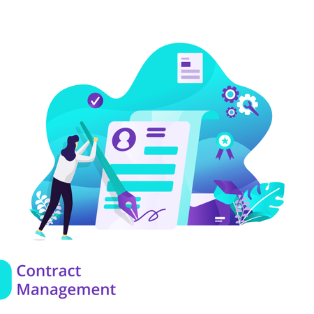 Landing Page of Contract Management Illustration
