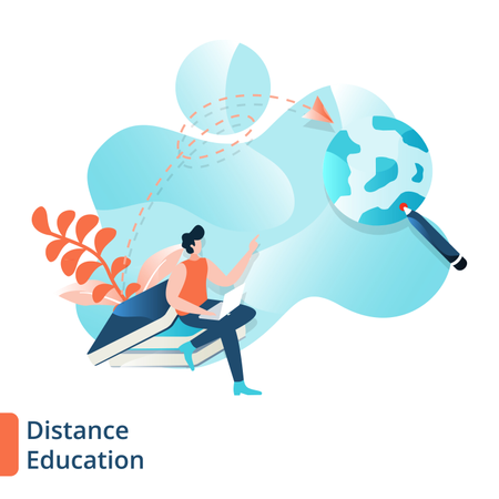 Landing Page of Distance Education Illustration