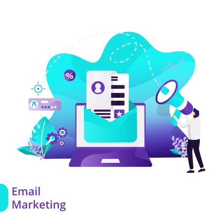 Landing Page of Email Marketing Illustration