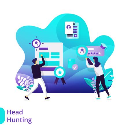 Landing Page of Headhunting Illustration