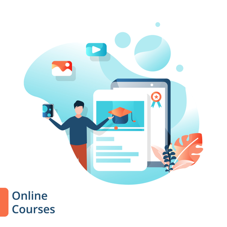 Landing Page of Online Courses Illustration