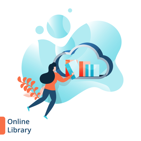 Landing Page of Online Library Illustration