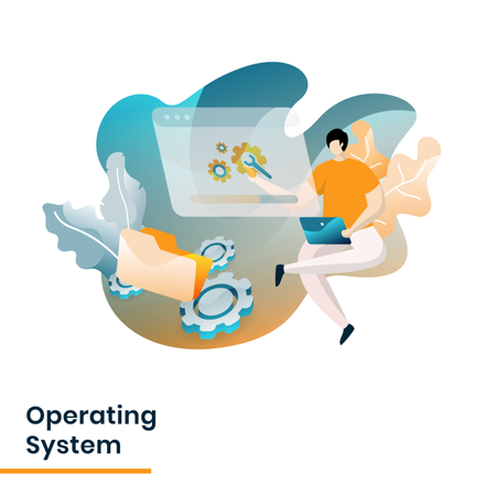 Landing Page of Operating System Illustration
