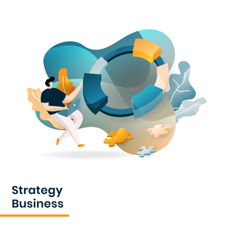 Landing Page of Strategy Business Illustration