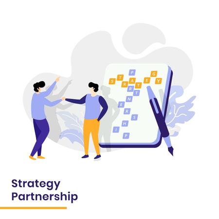 Landing Page of Strategy Partnership Illustration