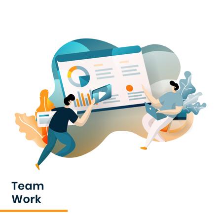 Landing Page of Team Work Illustration