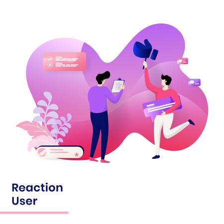 Landing Page of user reaction Illustration
