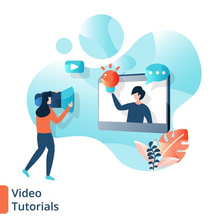 Landing Page of Video Tutorials Illustration