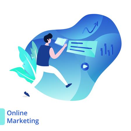 Landing Page Online Marketing Illustration