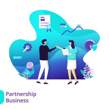 Landing Page Partnership Business Illustration