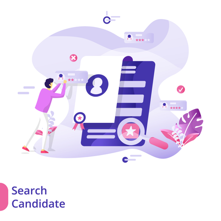 Landing Page Search Candidate illustration concept Illustration