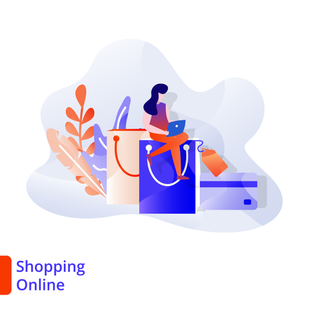 Landing Page Shopping Online Illustration