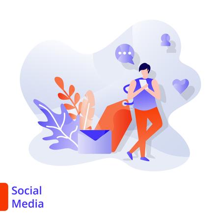 Landing Page Social Media Illustration
