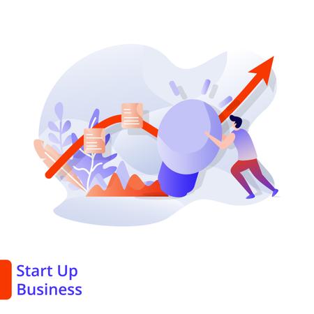 Landing Page Start Up Business Illustration