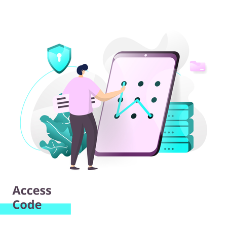 Landing page template of Access Code Illustration