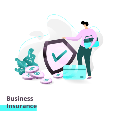 Landing page template of Business Insurance Illustration