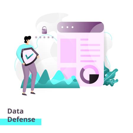 Landing page template of Data Defense Illustration