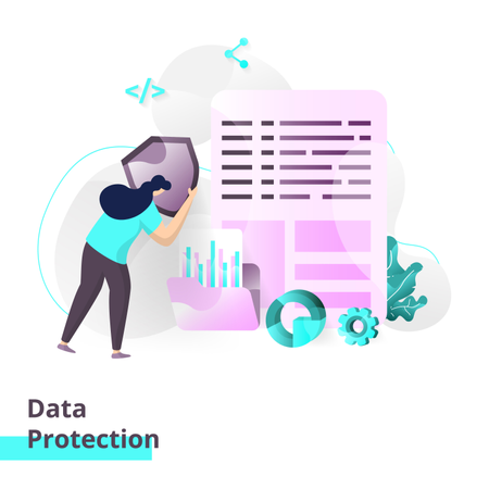 Landing page template of Data Protection Illustration