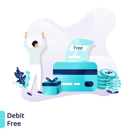 Landing page template of Debit Free Illustration