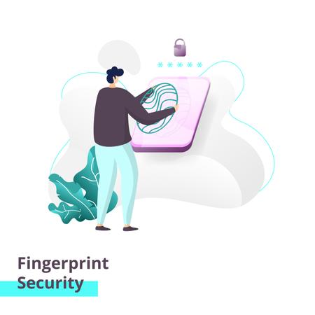 Landing page template of Fingerprint Security Illustration