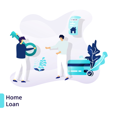Landing page template of Home Loan Illustration