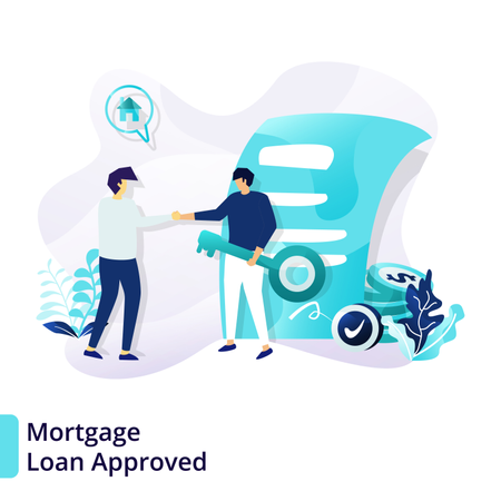 Landing page template of Mortgage Loan Approved Illustration