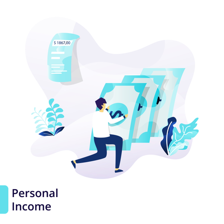 Landing page template of Personal Income Illustration