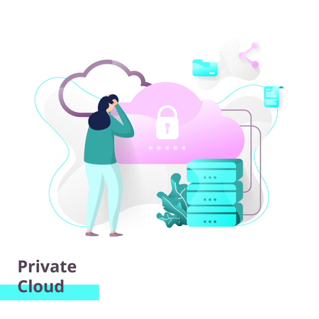 Landing page template of Private Cloud Illustration
