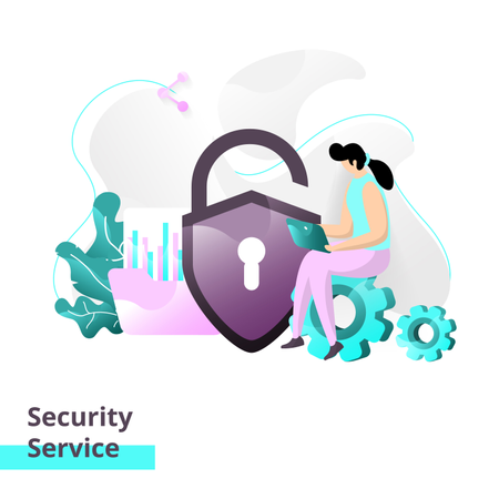 Landing page template of Security Service Illustration