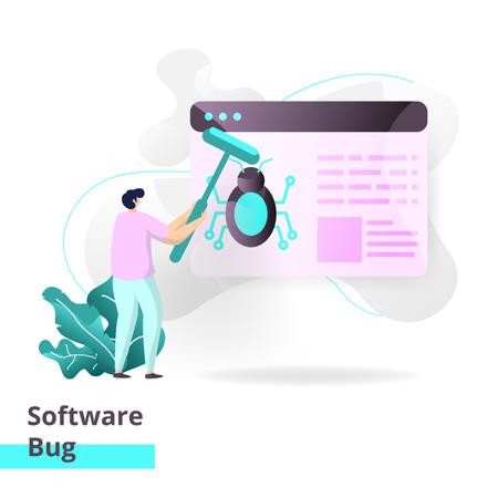 Landing page template of Software Bug Illustration
