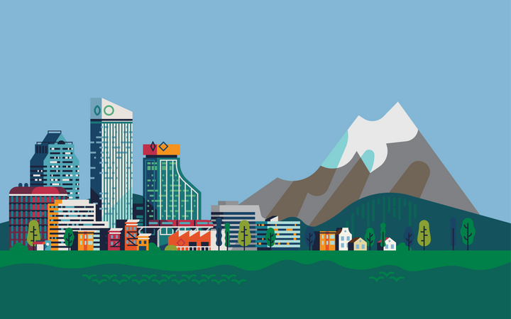 Landscape with city and huge mountain in the distance Illustration