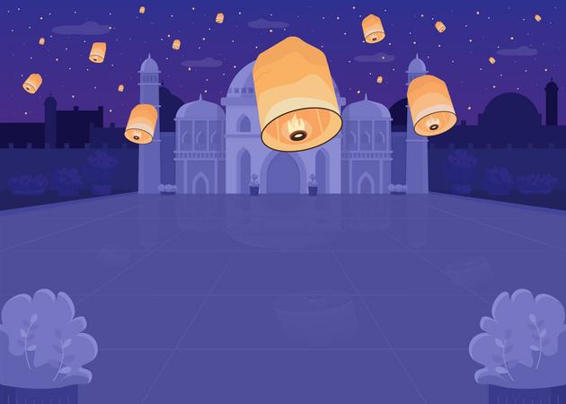 Lantern festival banner Illustration