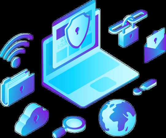Laptop Computer with Cloud Folder Security Illustration