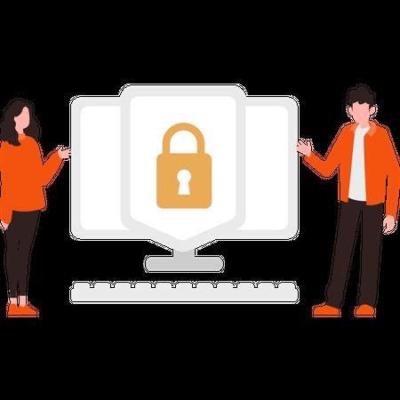Laptop security Illustration