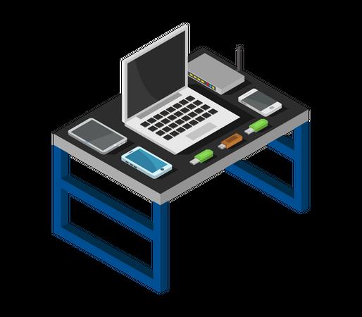 Laptop table Illustration
