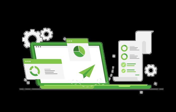 Laptop with sales analytics Illustration