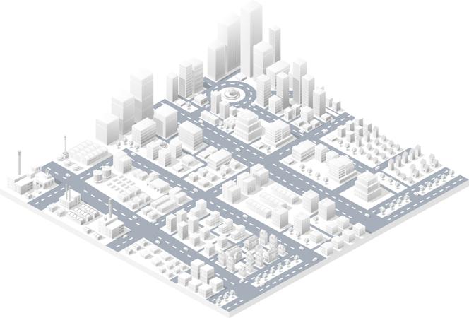 Large modern city Illustration