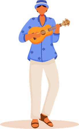 Latino man in blue shirt and pants Illustration