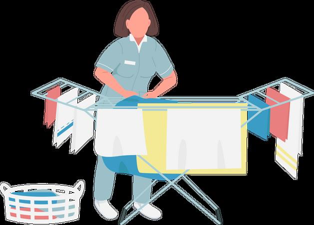 Laundry worker Illustration